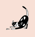 drawing of funny cat hunting and catching mouse or vector image vector image