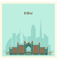 Dubai City skyline Silhouette Flat Trendy Design vector image