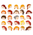Female heads with happy face vector image vector image