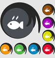 Fish dish Icon sign Symbols on eight colored vector image vector image