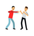 flat cartoon man in red sweater attacking guy in vector image