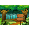 Forest scene with wooden signs vector image vector image