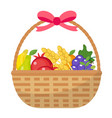 fruit basket icon flat cartoon style jewish vector image vector image