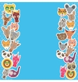 Funny Animals card template blue background vector image vector image