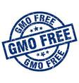 gmo free blue round grunge stamp vector image vector image