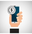 hand phone mobile bank app media vector image vector image