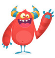 happy cool cartoon fat monster vector image vector image