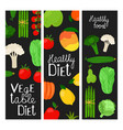 healthy food banners fruits and vegetables vector image