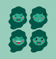 little green girls emoticon set kawaii characters vector image