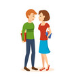 man and woman give each other gifts vector image