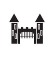 medieval castle with towers and gate black icon vector image vector image