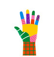 one colorful diverse hand raised isolated concept vector image
