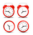 red alarm clock set isolated on white background vector image vector image