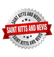 Saint Kitts And Nevis round silver badge with red vector image