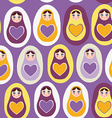 Seamless pattern orange Russian dolls on a purple
