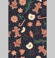 seamless pattern with gingerbread and apples vector image