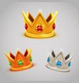 set of gold silver bronze crowns with jewels vector image vector image