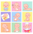 set with cute little babies 3-15 months vector image vector image