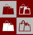 shopping bags sign bordo and white icons vector image vector image