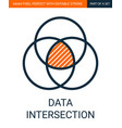 simple data intersection outline colorful vector image vector image