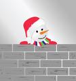 snowman with brick wall art vector image