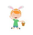 spring laughing jumping boy with bunny ears vector image