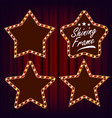 star retro frame set realistic shine lamp vector image vector image