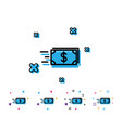 transfer cash money line icon banking vector image