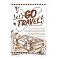 travel valise luggage with stickers poster vector image vector image