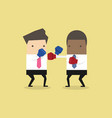 two businessmen wearing boxing gloves fighting vector image