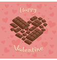 Valentine Heart Chocolate Bar Pink vector image vector image