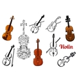 Violin music instruments set vector image vector image