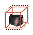 vr camera digital video function design cut line vector image