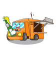with beer character food truck with awning vector image