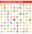 100 supermarket icons set isometric 3d style vector image vector image