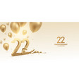 22nd anniversary celebration background vector image vector image