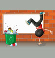 A boy breakdancing near a trash can with an empty vector image