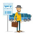 a man waiting on a bus stop with timetable vector image