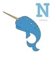 Alphabet letter N narwhal children vector image vector image
