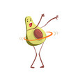 avocado twirling hula hoop around its waist funny vector image vector image