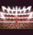 basketball court with hoop and spotlights vector image