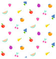 bright summer juicy fruit cartoon seamless pattern vector image