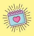 calendar love heart date cartoon style vector image