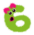 cartoon cute pinc and green monster number six vector image vector image
