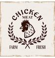 chicken head and laurel leaf emblem vector image vector image