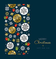 christmas and new year gold snow greeting card vector image vector image