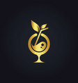 cocktail drink organic gold logo vector image vector image