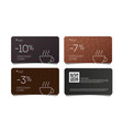 coffee discount coupon voucher cards with line vector image vector image