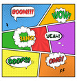 colorful template comic book page with various vector image vector image
