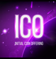 creative of ico initial coin vector image